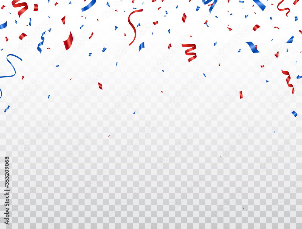 Fototapeta Red and blue celebration confetti falling on transparent background. Happy Independence Day decoration. Usa banner. Bright design elements for Birthday party, invitation, web. Vector illustration