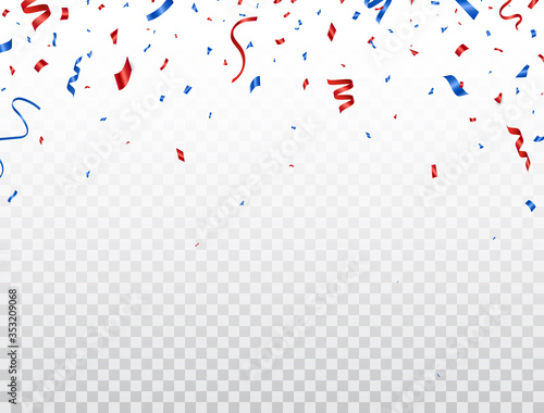 Cuadros en Lienzo Red and blue celebration confetti falling on transparent background