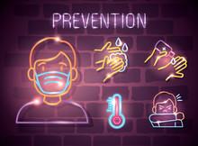Neon Light Symbol Covid 19 Coronavirus, Prevention Icons, Dangerous Pandemic Coronavirus Outbreak Neon Light Glowing Vector Illustration Design
