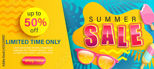 Obraz Hot Summer Sale banner,shop now with up to 50 percent limited time discount,season promo with tropical leaf,ice cream,sunglasses.Invitation for shopping,template for design flyer,special offer.Vector - fototapety do salonu