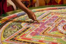 A Colourful Tibetan Mandala In A Buddhist Monastery