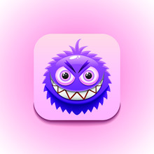 Fluffy Purple Monster Logo Vec...