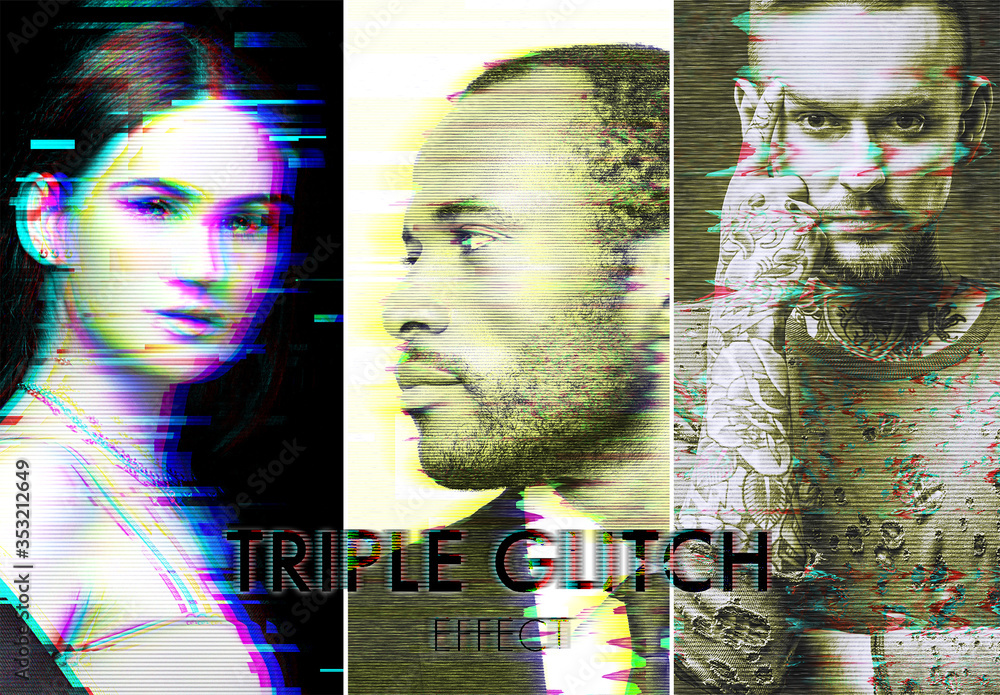 Fototapeta Glitch Effect Mockup Set