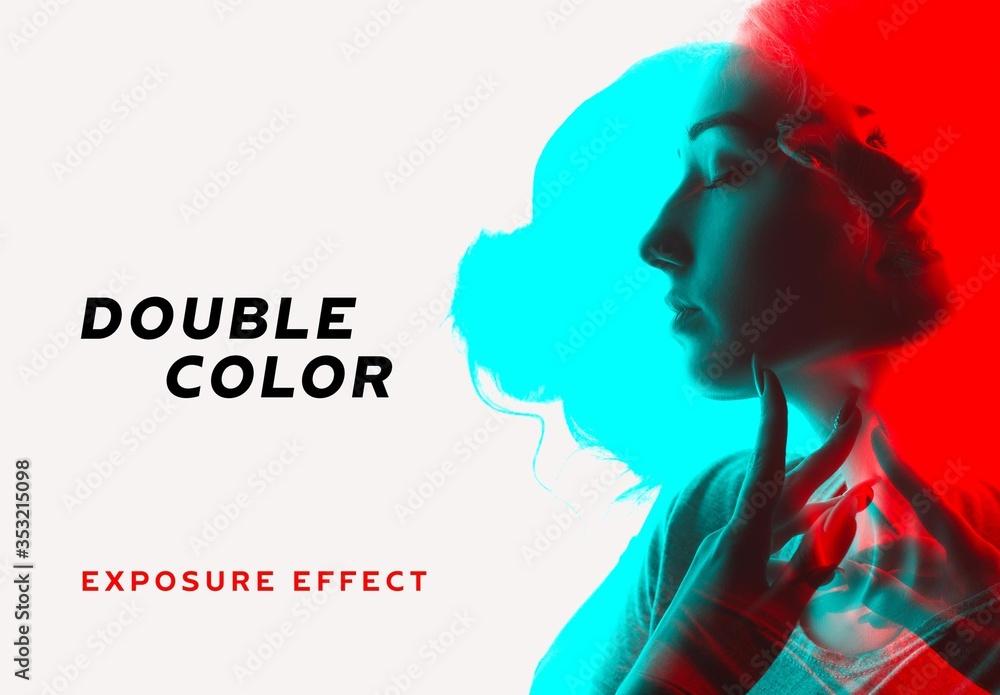 Fototapeta Double Color Exposure Photo Effect Mockup