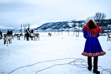 Traditional Sami People In The Norways Lapland, Tromso
