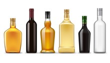 Realistic Alcohol Drink Bottles, Vector Mockups. Glass Bottles Of Wine, Vodka, Whiskey, Gin And Brandy, Liqueur, Cognac, Scotch, Bourbon And Rum Alcoholic Beverages On White Background