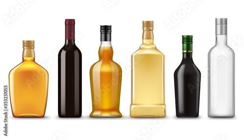 Fotografering Realistic alcohol drink bottles, vector mockups