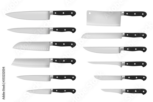 Canvastavla Kitchen and meat cutting knives set realistic vector of chef and butcher tools