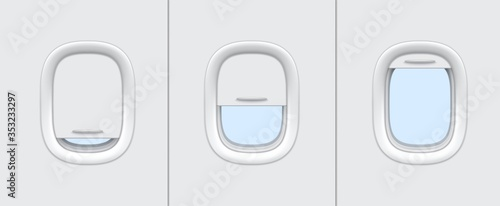 Obraz Plane or airplane windows realistic vector mockup of aircraft cabin interior design. Portholes with white plastic frames, closed and open blinds 3d template of passenger aircraft transportation themes - fototapety do salonu