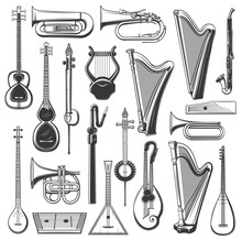Music Instrument Isolated Sket...