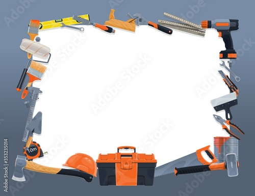 Cuadros en Lienzo Construction and repair tools vector frame border