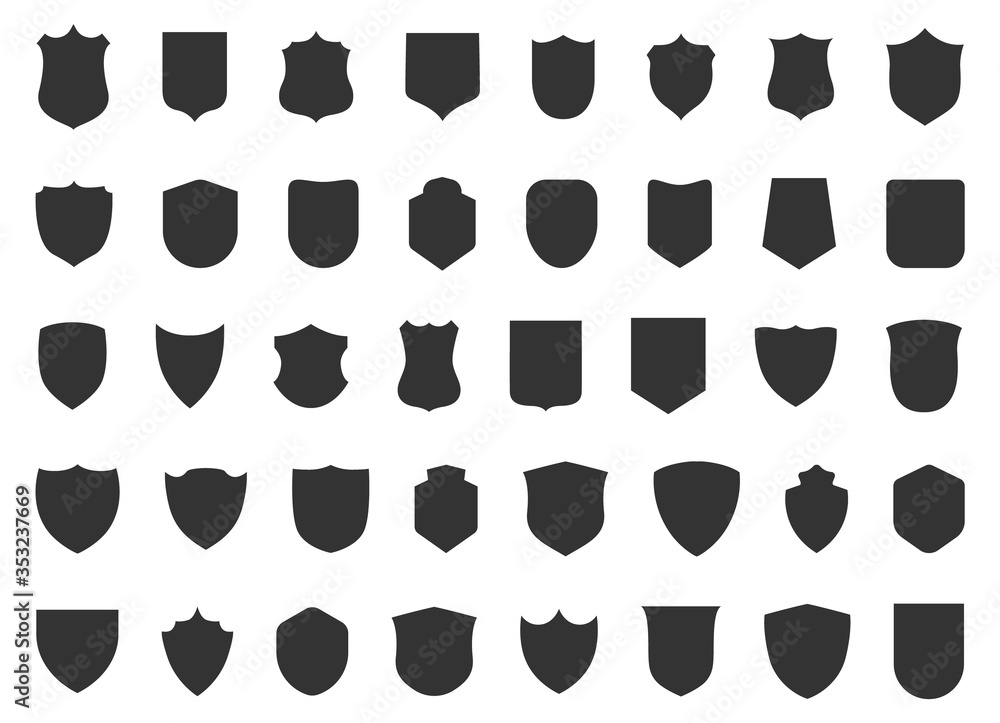 Fototapeta Police badge shape. 40 icons Vector military shield silhouettes. Security patches isolated on white background. Illustration shield shape protection, black security and football badge vector