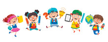 Happy Cute Cartoon School Chil...