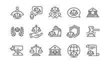 Court Line Icons Set. Judge, S...