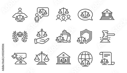Photographie Court line icons set