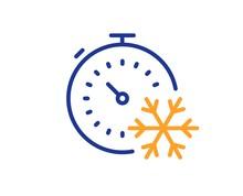 Freezing Timer Line Icon. AC C...