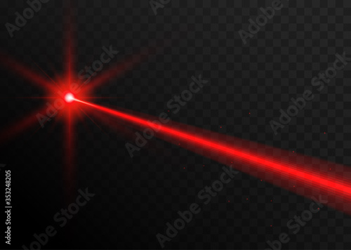 Obraz Laser beam red light. Vector laser beam line ray glow effect energy - fototapety do salonu