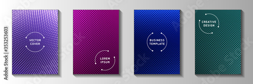 Fototapeta Cool point screen tone gradation cover templates vector series. Business notebook faded screen tone  obraz