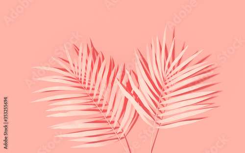 Obraz Exotic plants with backdrop. Tropical layout mockup. Background with painted palm leaves. Pink minimal concept art. 3D Render. - fototapety do salonu