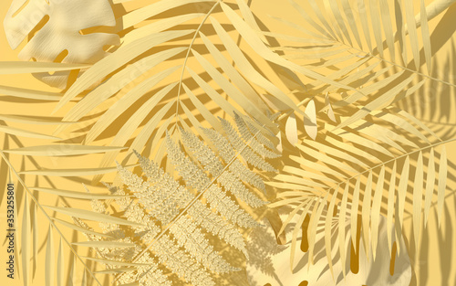 Obraz Exotic plants in pastel yellow paint. Tropical layout mockup. Background with painted leaves. Minimal jungle concept art. 3D Render. - fototapety do salonu