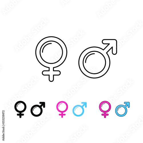Fototapeta Symbol of woman-man, female-male, boy-girl in heterosexual gender. Couple relationship. Gender symbol in toilet. Male and female symbol icon set.Vector illustration. Design on white background. EPS10. obraz na płótnie