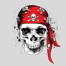 Poster Of A Pirate Skull In Re...