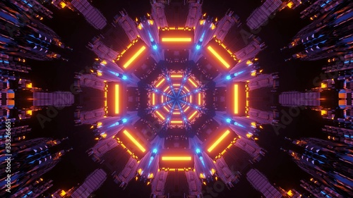 Graphic illustration of purple, orange, and blue lights - perfect for a digital Canvas-taulu