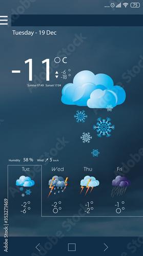 Obraz na plátne Weather forecast widget on screen. Mobile application