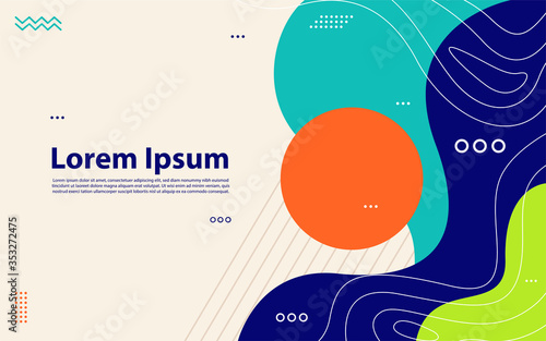 Obraz Memphis Style. Fluid Color Backgrounds with Futuristic 3D Elements. - fototapety do salonu