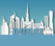 Dubai Landmark Global Travel And Journey paper background. Vector Design Template.used for your advertisement, book, banner, template, travel business or presentation.