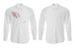 canvas print picture - Stylish shirt before and after dry-cleaning on white background