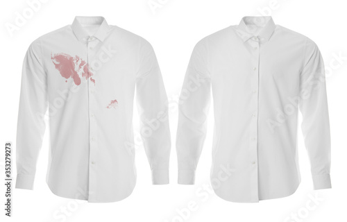 Fényképezés Stylish shirt before and after dry-cleaning on white background