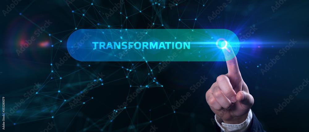 Fototapeta Business, Technology, Internet and network concept. Businessman presses button transformation on virtual screens.