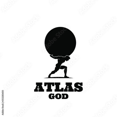 Cuadros en Lienzo Atlas god lift globe black logo icon design illustration