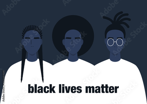 Black lives matter, a group of African people, human rights, fight racism Принти на полотні
