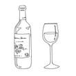ワインボトルとグラス線画