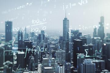 Scientific formula illustration on Chicago cityscape background, science and research concept. Multiexposure