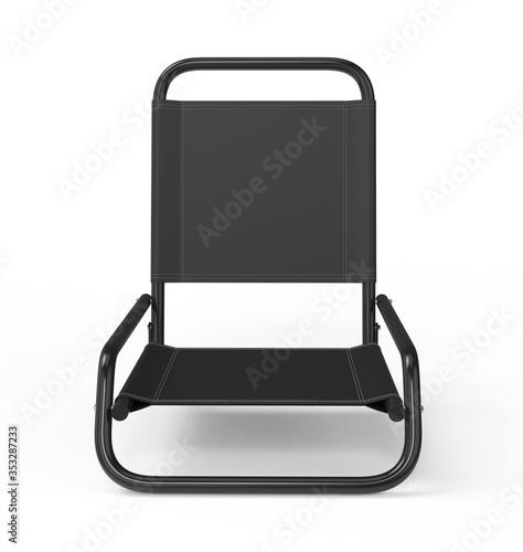 Fototapeta Blank metal beach low folding chair for design presentation anf mock up design