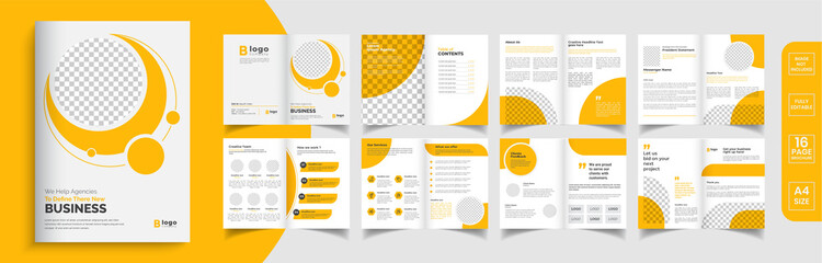 Orange business brochure template layout design, business profile template design,16 pages, annual report,minimal, editable businss brochure.