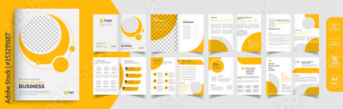 Fototapeta Orange business brochure template layout design, business profile template design,16 pages, annual report,minimal, editable businss brochure. obraz