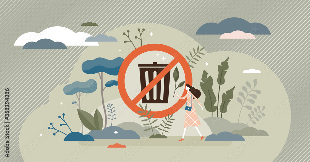 Fototapeta No rubbish vector illustration. Trash bin sign flat tiny persons concept.