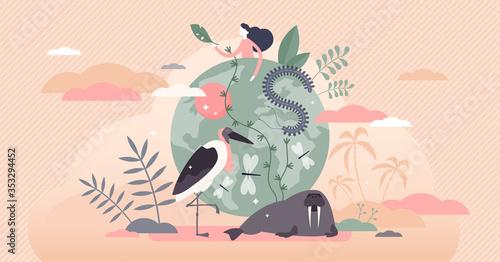 Obraz Biodiversity vector illustration. Various wildlife flat tiny person concept - fototapety do salonu