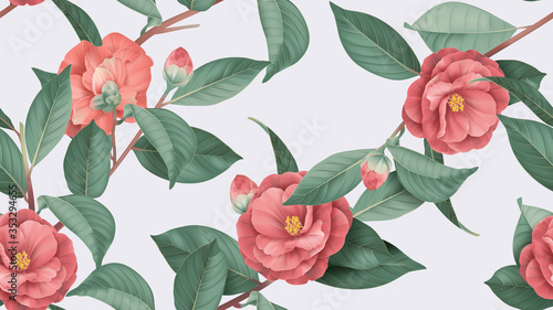 Canvas Print Floral seamless pattern, red Semi-double Camellia flowers with leaves on bright
