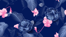 Floral Seamless Pattern, Semi-double Camellia Flowers With Pansy Flowers In Blue And Pink On Blue