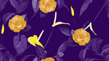 Floral Seamless Pattern, Semi-double Camellia Flowers With Anthurium Flowers In Purple, Orange And Yellow On Purple