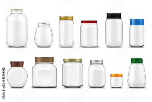 Glass jars with lids realistic mockup, vector food packages Canvas