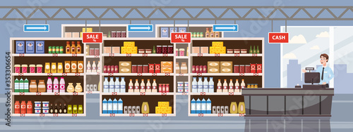 Fototapeta Big Shop Super Market Shopping Mall Interior store inside shelves with dairy products obraz