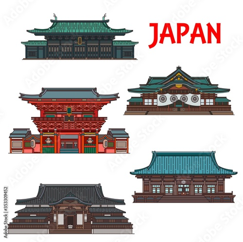 Japanese travel landmarks with vector buildings of Tokyo Tapéta, Fotótapéta