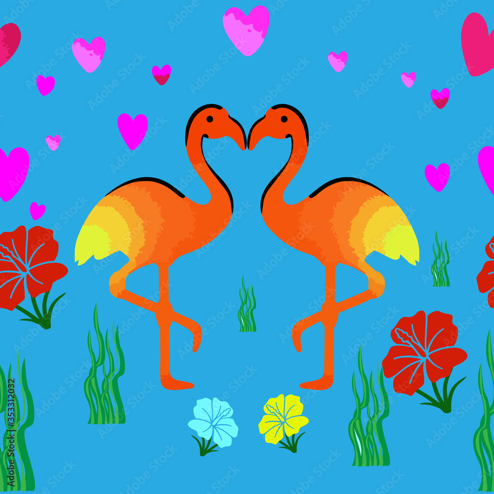 Fototapeta Colorful seamless pattern with flamingos and flowers.