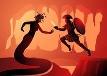 Greek Mythology Vector Illustration Of Perseus Fighting Medusa